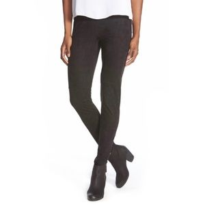 LYSSE High Waist Faux Suede Leggings L Black New